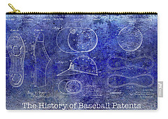 The History Of Baseball Patents Blue Carry-all Pouch by Jon Neidert