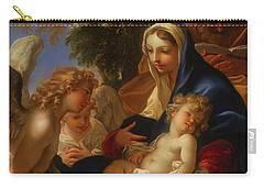 Carry-all Pouch featuring the painting The Holy Family With Angels by Seastiano Ricci