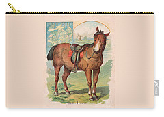 Carry-all Pouch featuring the painting The Horse Victorian Chromolithograph by Peter Gumaer Ogden
