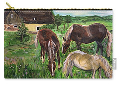 Carry-all Pouch featuring the painting The Horses Of Larochemillay by Belinda Low