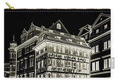 Carry-all Pouch featuring the photograph The House At The Minute With Graffiti. Black by Jenny Rainbow
