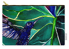 The Hummingbird And The Trillium Carry-all Pouch by Lil Taylor
