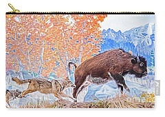 Carry-all Pouch featuring the digital art The Hunt by Ray Shiu