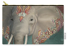 Carry-all Pouch featuring the painting The King - African Bull Elephant - Kashmir Paisley Tribal Pattern Safari Home Decor by Audrey Jeanne Roberts