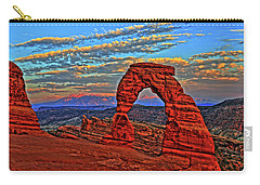 Carry-all Pouch featuring the photograph The La Sal Mountains And Arch by Scott Mahon