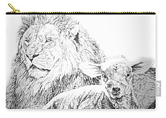 Carry-all Pouch featuring the drawing The Lion And The Lamb by Bryan Bustard