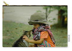 The Little Girl And Her Cat Carry-all Pouch