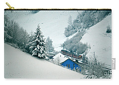 Carry-all Pouch featuring the photograph The Little Red Train - Winter In Switzerland  by Susanne Van Hulst