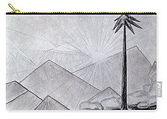 Carry-all Pouch featuring the drawing The Lone Pine by J R Seymour