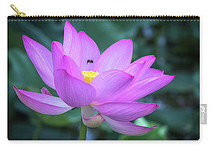 Carry-all Pouch featuring the photograph The Lotus And The Bee by Cindy Lark Hartman