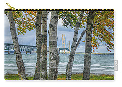 The Mackinaw Bridge By The Straits Of Mackinac In Autumn With Birch Trees Carry-all Pouch