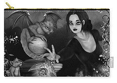 The Magic Rose - Black And White Fantasy Art Carry-all Pouch