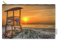 Carry-all Pouch featuring the photograph The Main Attraction Tybee Island Sunrise Lifeguard Stand Beach Art by Reid Callaway