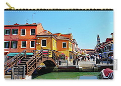 The Main Street On The Island Of Burano, Italy Carry-all Pouch