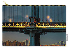 Carry-all Pouch featuring the photograph The Manhattan Bridge During Blue Hour by Chris Lord
