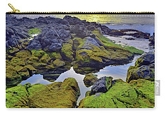 Carry-all Pouch featuring the photograph The Mossy Rocks At Sunset by Tara Turner