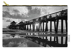 Naples Pier At Sunset Naples Florida Black And White Carry-all Pouch