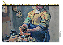 Carry-all Pouch featuring the painting The New Milkmaid by Nop Briex