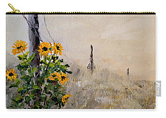 Carry-all Pouch featuring the painting The Old Fence by Alan Lakin