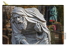 Carry-all Pouch featuring the photograph The Old Man Of Powazki Cemetery Warsaw  by Carol Japp