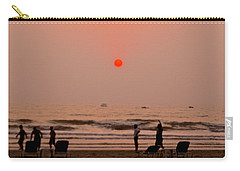 Carry-all Pouch featuring the photograph The Orange Moon by Sher Nasser
