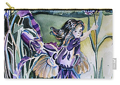 Carry-all Pouch featuring the painting The Orchid Fairy by Mindy Newman