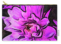 The Pink And Lavender Flowers On The Grey Surface Carry-all Pouch