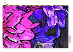 The Pink Petals With The Purple And Blue Flowers Carry-all Pouch
