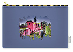 Carry-all Pouch featuring the photograph The Pink Tractor At The Wooden Shoe Tulip Farm by Thom Zehrfeld