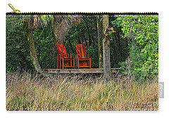Carry-all Pouch featuring the photograph The Red Chairs by Deborah Benoit