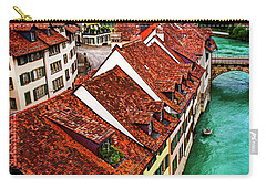 Carry-all Pouch featuring the photograph The Red Rooftops Of Bern Switzerland  by Carol Japp