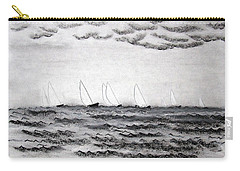 Carry-all Pouch featuring the drawing The Regatta by J R Seymour