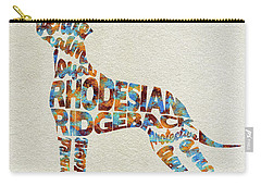Carry-all Pouch featuring the painting The Rhodesian Ridgeback Dog Watercolor Painting / Typographic Art by Ayse and Deniz