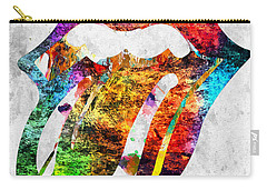 The Rolling Stones Logo Grunge Carry-all Pouch by Daniel Janda