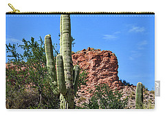 Carry-all Pouch featuring the photograph The Saguaro And The Deep Blue Sky by Kirt Tisdale