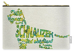 Carry-all Pouch featuring the painting The Schnauzer Dog Watercolor Painting / Typographic Art by Ayse and Deniz
