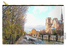 Carry-all Pouch featuring the photograph The Seine And Quay Beside Notre Dame, Autumn by Felipe Adan Lerma
