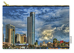 Carry-all Pouch featuring the photograph The Skyscraper And Low Clouds Dance by Ron Shoshani