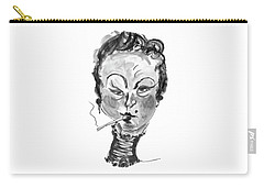 Carry-all Pouch featuring the mixed media The Smoker - Black And White by Marian Voicu