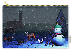 The Snowman's Visitors Carry-all Pouch by Ken Morris