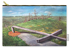 Carry-all Pouch featuring the painting Millsfield Tennessee Steel Cross by Randol Burns