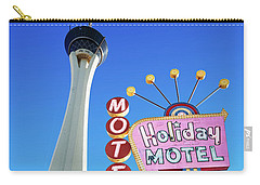 The Stratosphere Casino In Front Of The Holiday Motel Sign Carry-all Pouch by Aloha Art