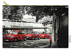 Carry-all Pouch featuring the photograph The Street Of Red Cars by Jenny Rainbow