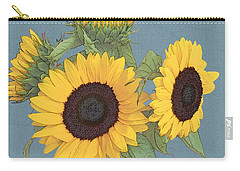 Carry-all Pouch featuring the digital art The Sunflowers by I'ina Van Lawick