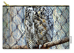 Carry-all Pouch featuring the photograph The Textured Owl by AJ Schibig