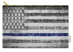 Carry-all Pouch featuring the digital art The Thin Blue Line American Flag by JC Findley