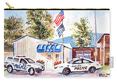 Carry-all Pouch featuring the painting The Thin Blue Line by Kip DeVore
