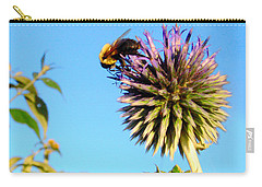 Carry-all Pouch featuring the photograph The Thistle And The Bee. by Roger Bester