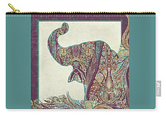Carry-all Pouch featuring the painting The Trumpet - Elephant Kashmir Patterned Boho Tribal by Audrey Jeanne Roberts