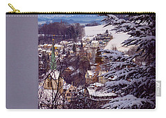 Carry-all Pouch featuring the photograph The Village - Winter In Switzerland by Susanne Van Hulst